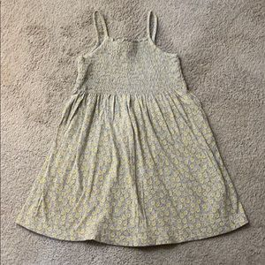 Gap smocked front gray heather yellow floral dress